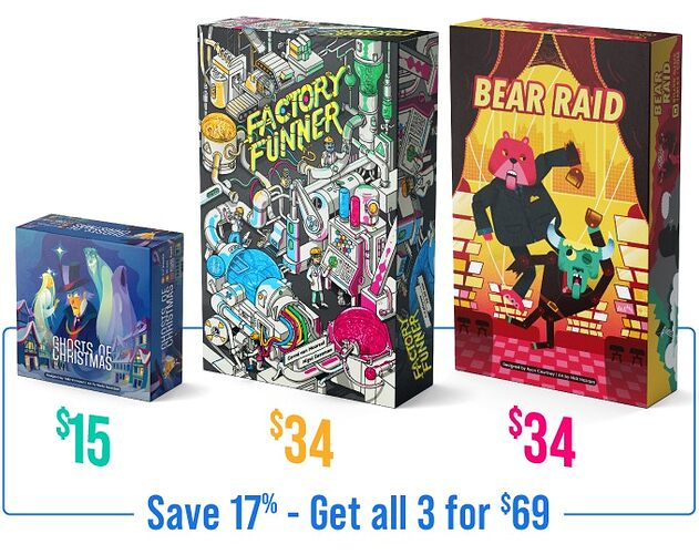 Factory Funner, Bear Raid, and Ghosts of Christmas by BoardGameTables.